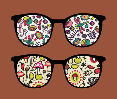 Retro sunglasses with mushrooms reflection in it.  Vector