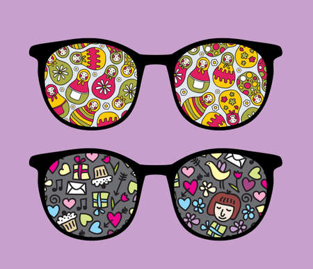 Retro sunglasses with matreshka reflection in it.  Vector
