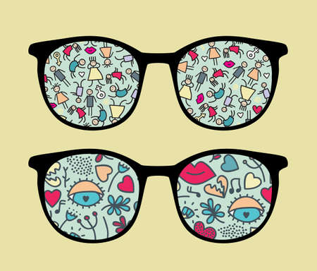 Retro sunglasses with people reflection in it.  Vector
