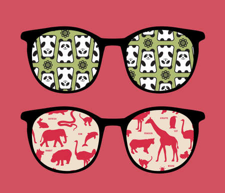 Retro sunglasses with animals reflection in it.  Vector