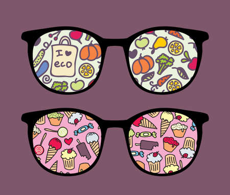 sunglasses reflection: Retro sunglasses with tasty reflection in it.  Illustration