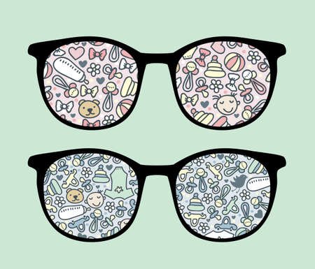 Retro sunglasses with baby reflection in it.  Vector