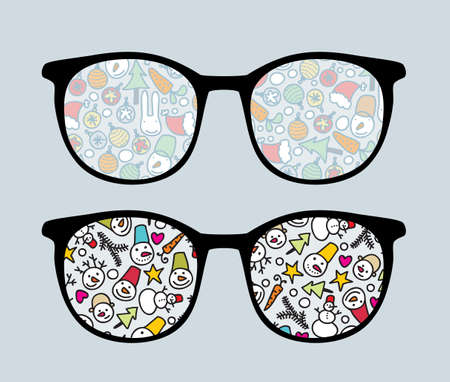 Retro sunglasses with snowman reflection in it. Vector