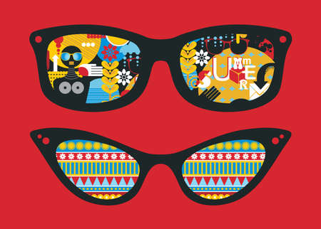 Retro sunglasses with summer reflection in it. Vector