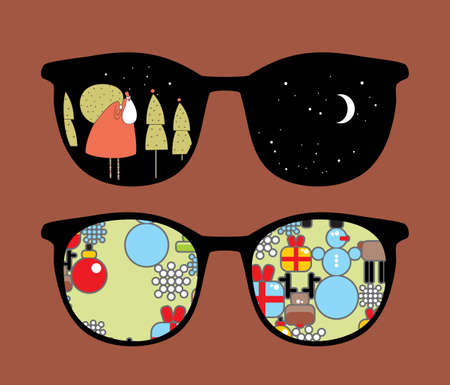 Retro sunglasses with cute christmas reflection in it.  Vector