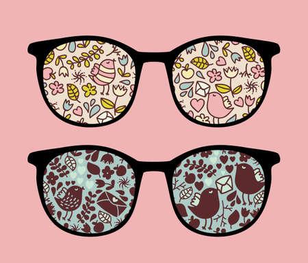 Retro eyeglasses with nice birds reflection in it.  Vector
