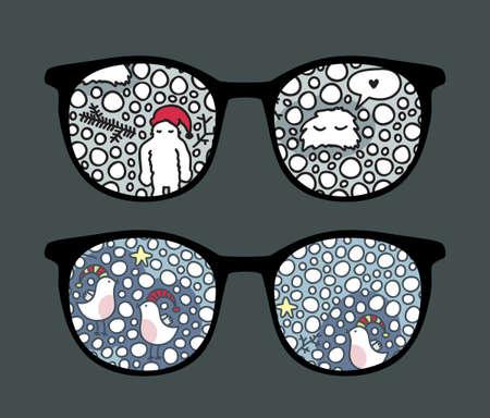 sunglasses reflection: Retro sunglasses with yeti reflection in it.  Illustration