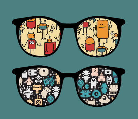 Retro sunglasses with robots pattern reflection in it.  Vector