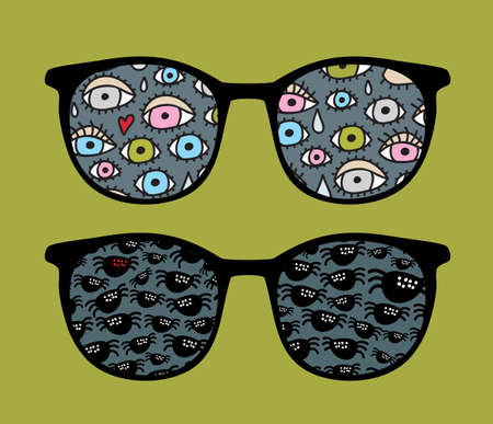 Retro sunglasses with eyes and spiders reflection in it.  Stock Vector - 13285342