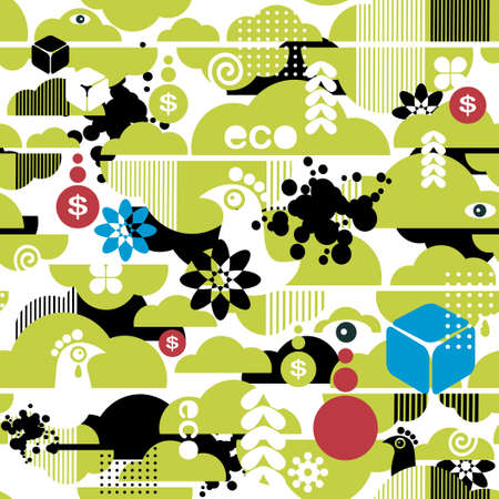 Seamless pattern of ecological background.  Vector