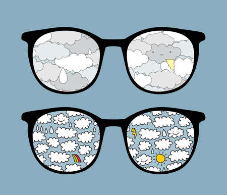 Retro sunglasses with cute clouds reflection in it.  Vector