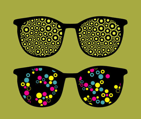 sunglasses reflection: Retro sunglasses with cute background reflection in it.  Illustration