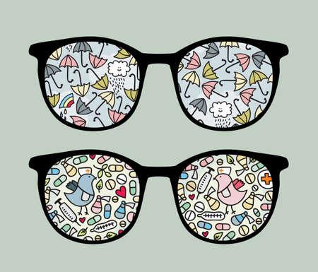 Retro sunglasses with  umbrella and birds  reflection in it. Stock Vector - 13321639