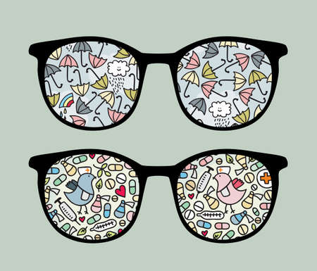 Retro sunglasses with  umbrella and birds  reflection in it. Vector