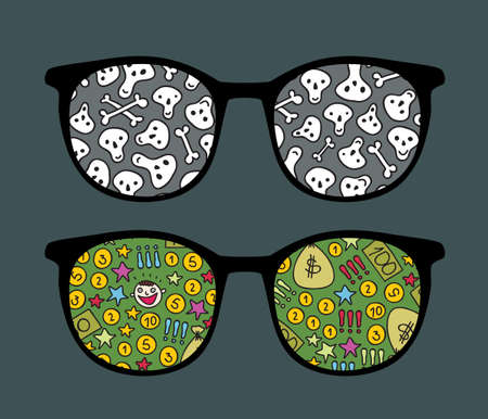 sucsess: Retro sunglasses with money and bones  reflection in it.
