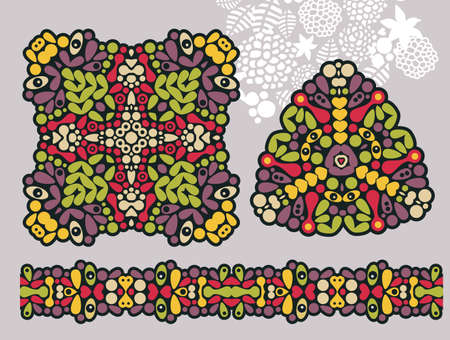 original circular abstract: Decoration shapes and psychedelic seamless ornament. Illustration