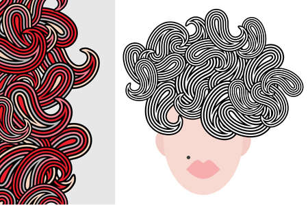 Seamless vertical pattern and woman with cool hair. Stock Vector - 13413949