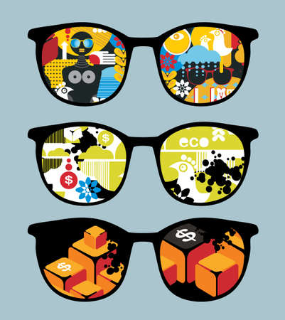 Retro set of sunglasses with cool  reflection in it.  Vector