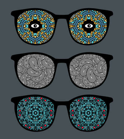 Retro set of sunglasses with psychedelic reflection in it.  Vector