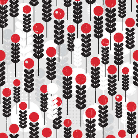 Abstract seamless pattern with berries.  Vector