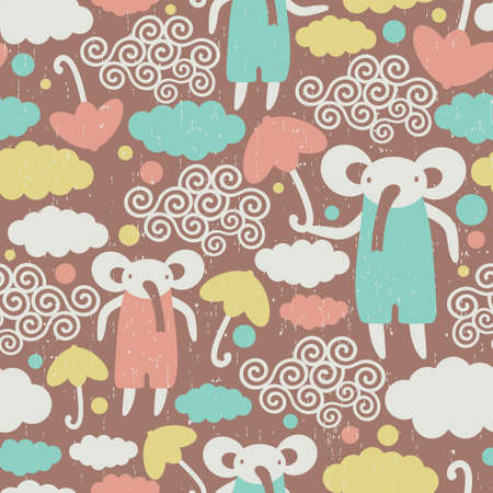 Cute elephants in the sky texture. Seamless pattern with umbrellas. Vector