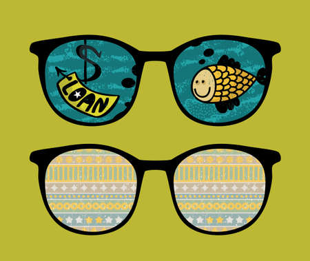 Retro sunglasses with fish  reflection in it.  Vector