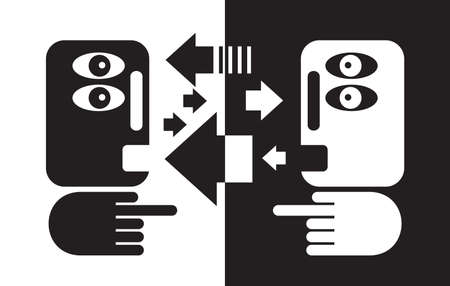Black and white conversation.  Vector