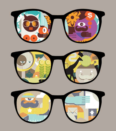 Retro sunglasses with abstract pictures  reflection in it.  Vector