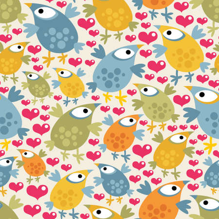 Seamless pattern with cute birds and hearts. Stock Vector - 13696300