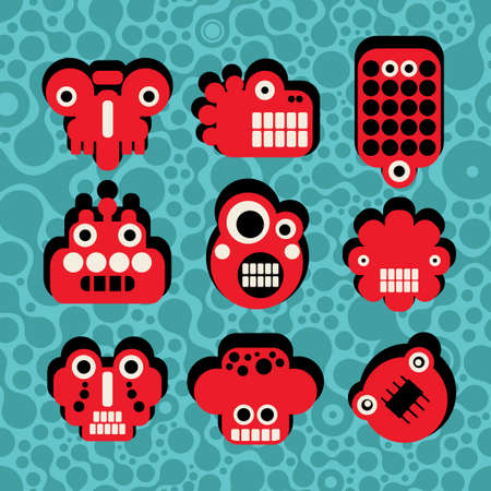 Cartoon robots and monsters faces #4 Vector