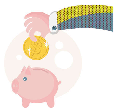 put: People save their money on the piggy bank. Illustration