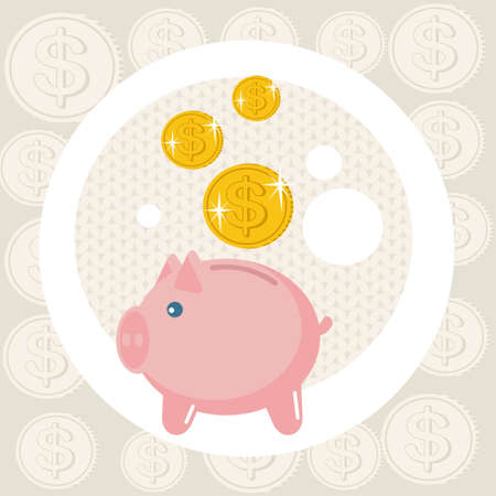 Piggy bank card.  Vector
