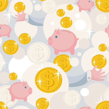 Seamless pattern with saving pigs and money.  Vector