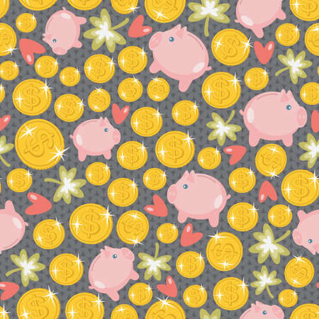 St  Patrick s day seamless pattern with piggy bank texture   Vector