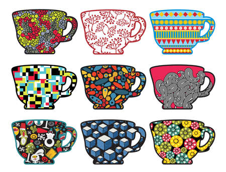 Set of tea cups with cool patterns. Vector