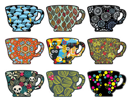 Set of tea cups with different patterns. Stock Illustratie