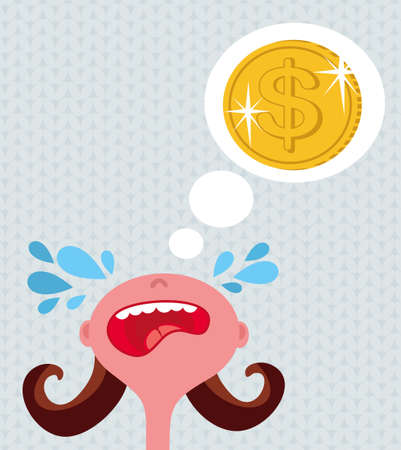 whim: Girl cries about money.  Illustration