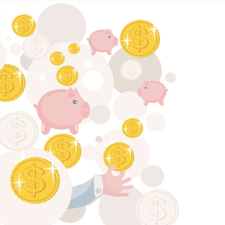 Pattern with piggy bank and money. Stock Vector - 13696310