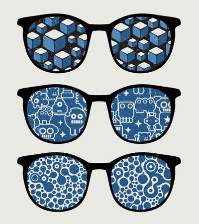 Retro sunglasses with blue  reflection in it. Vector