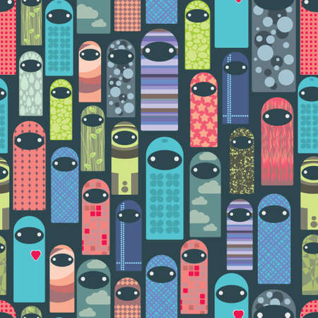stranger: Seamless pattern with colorful ghosts.