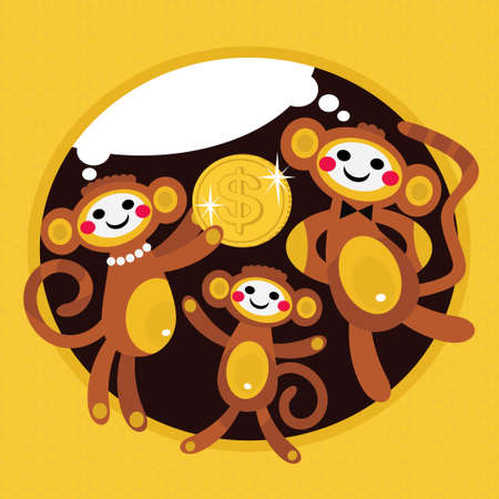 Monkey family with dollar. Stock Vector - 13729472