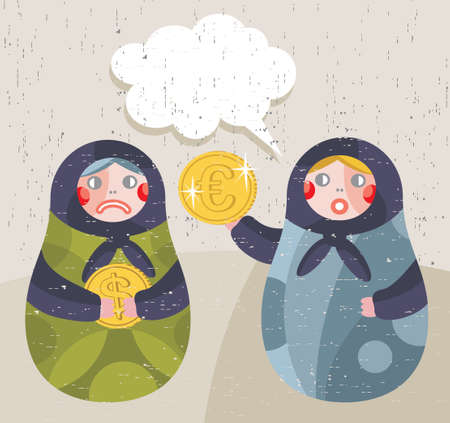 business news: Matreshka doll with business news about currency.  Illustration