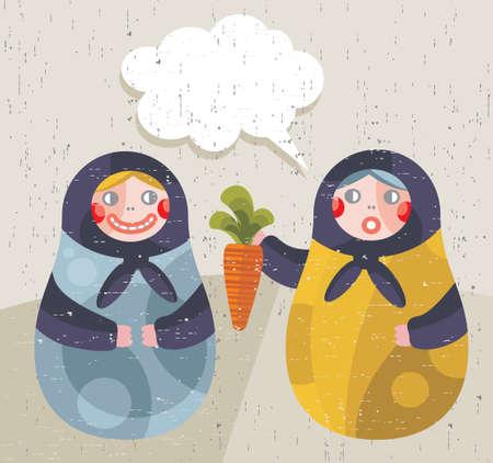 matriosca: Matreshka doll with news about healthy life style. Illustration