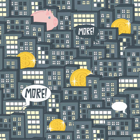 early in the evening: Night city and money seamless pattern. Illustration