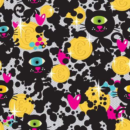 Cute monsters cats and money  seamless pattern.  Vector