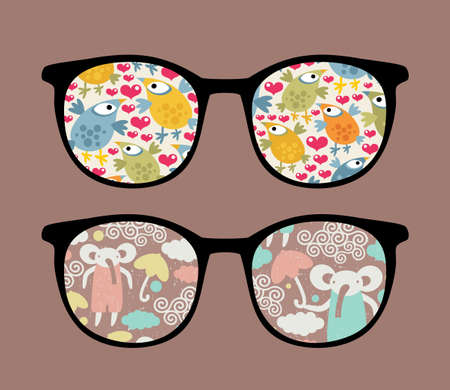 Retro sunglasses with cartoons reflection in it.  Vector