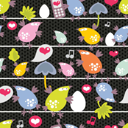 Seamless pattern of colorful birds on wires in night.  Vector