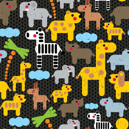 Cute african animals seamless pattern.  Vector