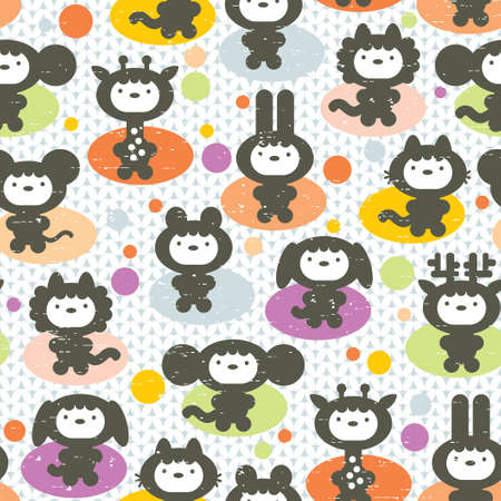 Cute animals seamless pattern. Vector