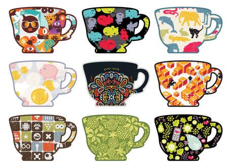 mujeres dinero: Juego de tazas de t� con patrones divertidos.